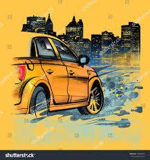 painted yellow car on night new stock illustration 148564853