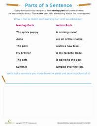 beginning grammar parts of a sentence worksheet education com