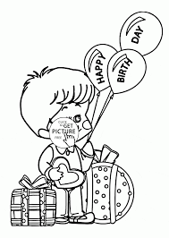 boy with happy birthday balloons coloring page for kids holiday