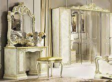 schlafzimmer klassisch hochglanz bett und 2 x nachttisch stilmöbel aus italien luxus