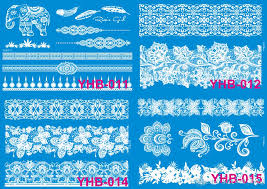 xquisite design lace white henna sticker butterfly feather