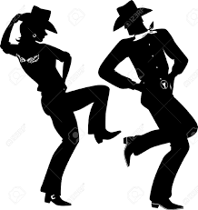 silhouette of a cowboy and cowgirl dancing country western no