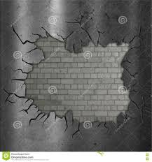 Exposed Brick Wall by Exposed Brick Wall With Cracked Metal Stock Illustration Image