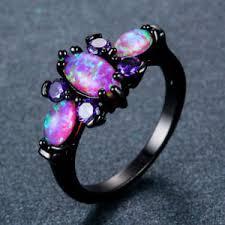 opal wedding ring women black gold butterfly purple opal wedding ring jewelry
