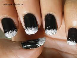 indian beauty maniac weekend manicure black nails with white tips