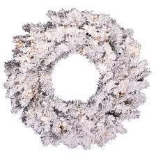 24 pre lit flocked alaskan wreath with white lights target