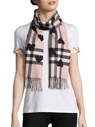 burberry heart print giant check cashmere scarf in pink lyst