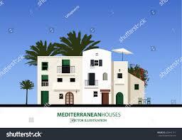 Mediterranean Houses Mediterranean Houses Palms Blue Sky Bakground Stock Vector