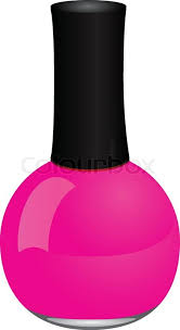 multicolored nail polish bottles near red nails and brush stock