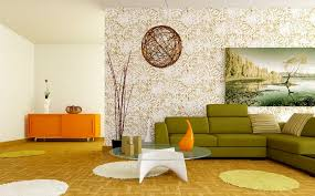 Living Room Design Retro White Orange Green Living Room Design - Green living room design