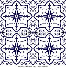 mexican tiles pattern vector blue white stock vector 484390288