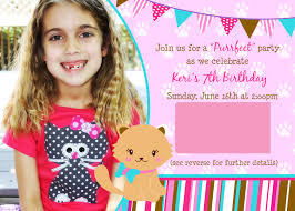 Invitation Card 7th Birthday Boy Kitty Cat Birthday Party Decorations