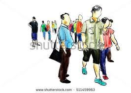 people walking pen ink sketch stock illustration 511459963