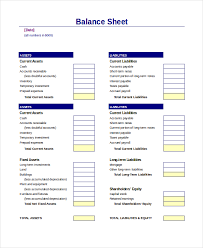 Consolidated Balance Sheet Template Balance Sheet 16 Free Word Excel Pdf Documents