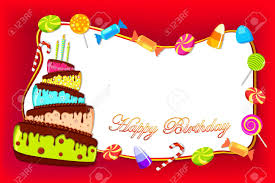 illustration of happy birthday card with colorful cake and sweet