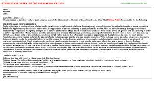 Jobs For Makeup Artists Makeup Artists Offer Letter