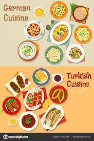 la cuisine allemande icône de la cuisine allemande et turque pour la conception de