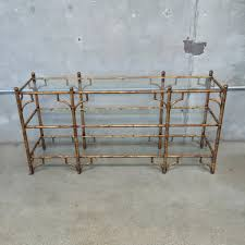 glass and metal console table gilt asian metal and glass faux bamboo console u2013 urbanamericana