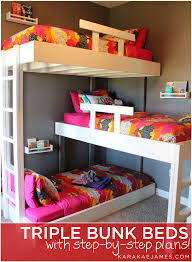 hubby made this awesome triple bunk for our girls they love triple bunk beds with plans