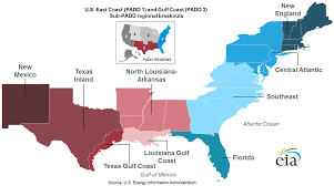 Map Of United States East Coast by East Coast And Gulf Coast Transportation Fuels Markets Energy