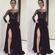 new arrival long black prom dresses chiffon prom dress side slit