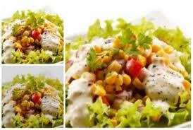 cara membuat salad sayur atau buah resep salad buah dan sayur dengan 2 macam saus area halal