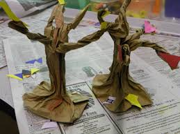 fall or halloween craft paper bag trees