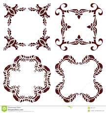 set hand drawing decorative frame silhouette in marsala color