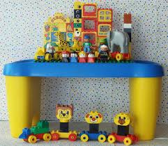 duplo table with storage duplo preschool playtable with storage compartments on each