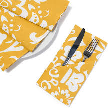 19 in mustard yellow white vintage royalty cotton napkins 4