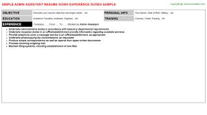 admin assistant resume sample