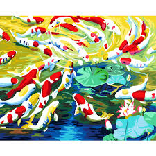 wall mural painting kits promotion shop for promotional wall mural diy digital painting by numbers kits landscape pond goldfish oil painting canvas art wall mural decals for home decoration