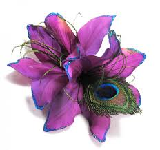 Purple Lily Flower Purple Lily And Peacock Hair Flower Clip