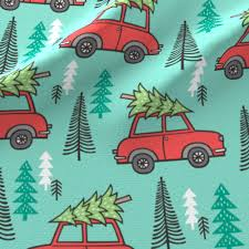 holiday christmas tree red car woodland fall on mint green fabric