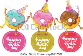 happy birthday card background with cute donut holiday vector