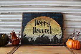 fall decor happy harvest moon u0026 pumpkins cedar sign full moon