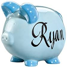 personalized silver piggy bank personalized ceramic kids piggy bank by kimball