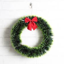 christmas garland 1pc christmas decorative wreath plastic garland with ribbon