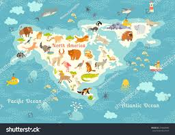 Iceland World Map Animals World Map North Americacolorful Cartoon Stock Vector