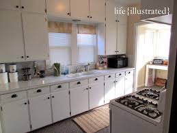 Painting Old Kitchen Cabinets White by Flat Cabinets Painted In White Enamel Kitchen Makeover