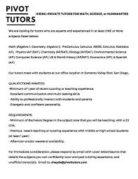 Resume For Tutoring Position Local Private Tutoring Position At Pivot Tutors Llc Ucsd