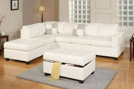 Reversible Sectional Sofa Poundex F7354 3 Pcs Off White Bonded Leather Reversible Sectional Sofa