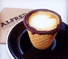 edible chocolate dipped waffle coffee cups at alfred coffee