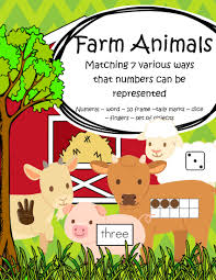 farm animals theme matching numbers 7 different ways