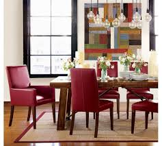 oak dining table and red leather chairs dining chairs design