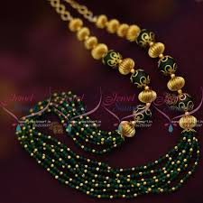 green fashion necklace images Bm7613 green beads golden balls handmade beaded fashion jewellery JPG