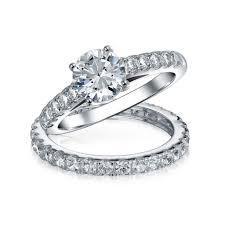 silver wedding ring sets wedding ideas silver wedding sets engagement ring set cz st rset