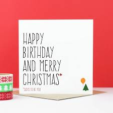 Merry Birthday Card Happy Birthday And Merry Christmas Card By Purple Tree Designs