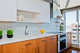 Mosaic Tile Backsplash Kitchen Backsplashes Kitchen White Cabinets Quartz Countertops Modern
