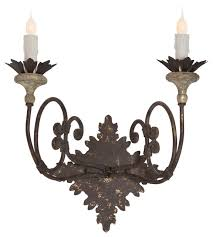 Country Sconces Nimes French Country Curled Iron 2 Light Wall Sconce Farmhouse